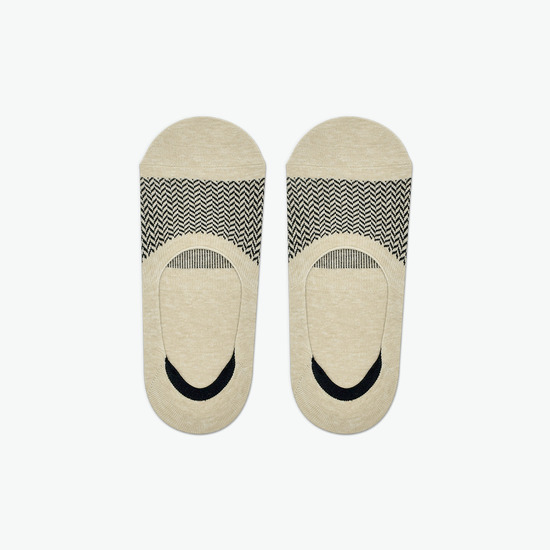 BEIGE : ZIGZAG PATTERN SOCKS [1 COLOR] -MAN